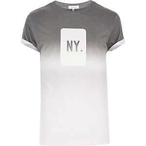 Grey faded NY print t-shirt