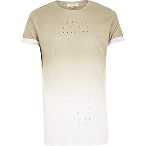 Light brown fade print t-shirt