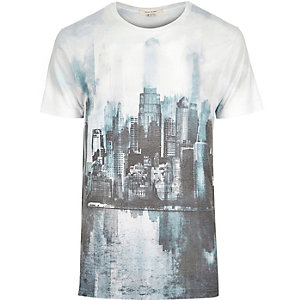 White blue washed city print t-shirt