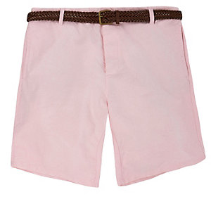 Light pink belted chino shorts