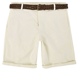 Light yellow belted Oxford shorts
