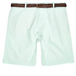 Light green belted chino slim shorts