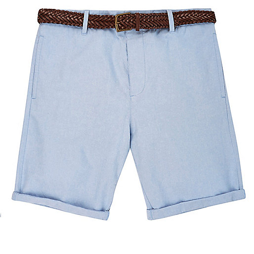 Light blue belted chino shorts