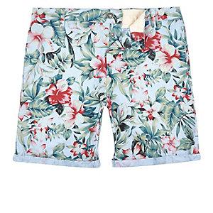 Blue Oxford Hawaiian print slim fit shorts