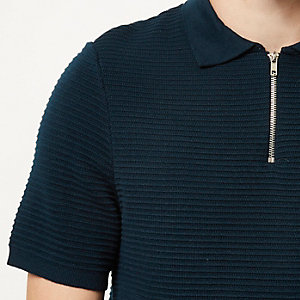 Blue textured zip neck polo shirt
