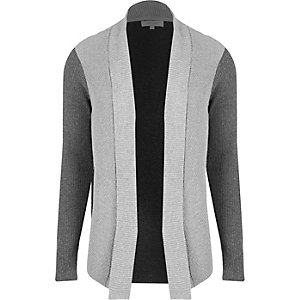 Grey block color open cardigan
