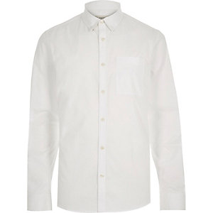 White twill long sleeve shirt