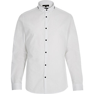 White black trim collar shirt
