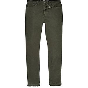 Khaki green Sid skinny stretch raw hem jeans