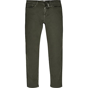 Khaki green Sid skinny stretch jeans