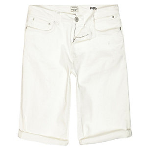 White denim skinny stretch shorts