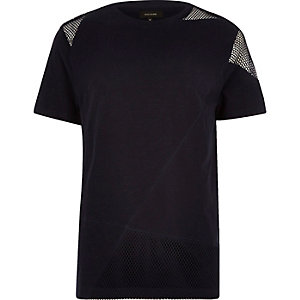 Navy mesh block t-shirt