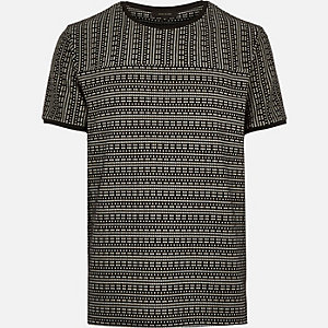 Black square jacquard t-shirt