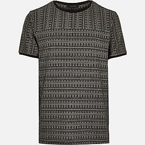 Black square jacquard t-shirt
