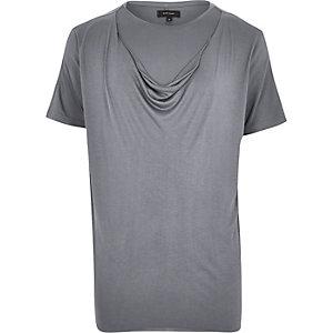 Dark grey double layer draped t-shirt
