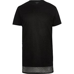 Black mesh layer longline t-shirt