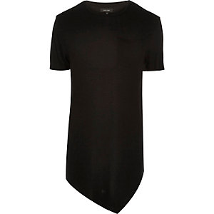 Black draped asymmetric longline T-shirt