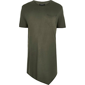 Dark green draped asymmetric longline t-shirt