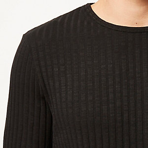 Black chunky ribbed crew neck top