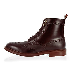 Dark red leather lace-up wingtip boots