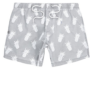 Grey pineapple swim trunks