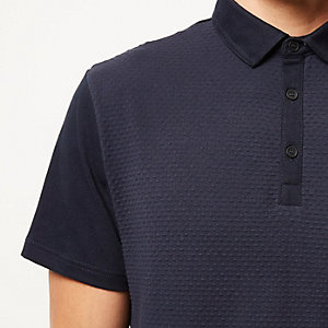 Navy dotty texture front polo shirt