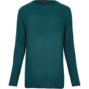 Blue lightweight plaited jumper