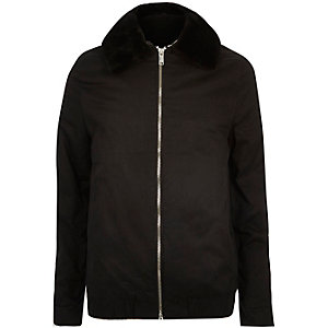 Black Vito faux-fur collar bomber jacket