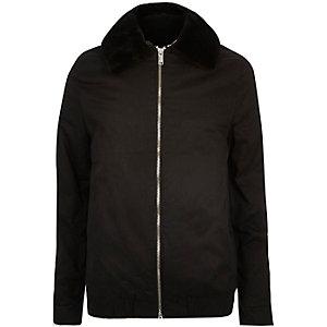 Black Vito faux-fur collar bomber jacket