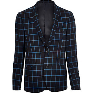 Navy Vito check super slim blazer
