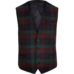 Dark red Vito wool-blend tartan waistcoat