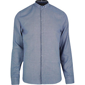 Blue Vito slimline collar shirt
