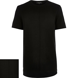 Black knitted side zip t-shirt