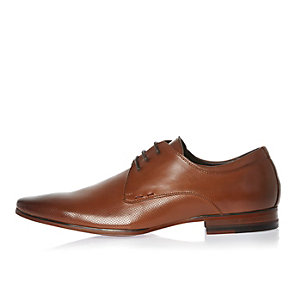 Brown smart perforated leather shoes