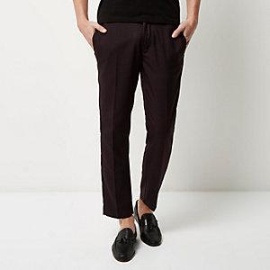 Burgundy houndstooth skinny crop trousers