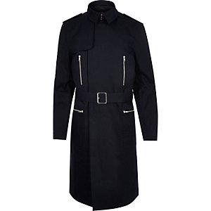Navy smart belted mac coat