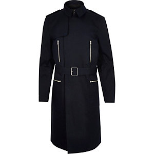 Navy smart belted mac coat