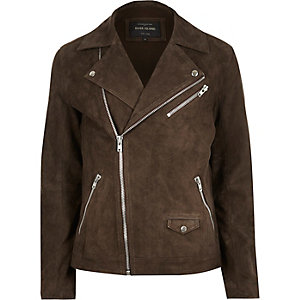Dark brown premium suede biker jacket