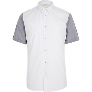 White contrast short sleeve slim shirt
