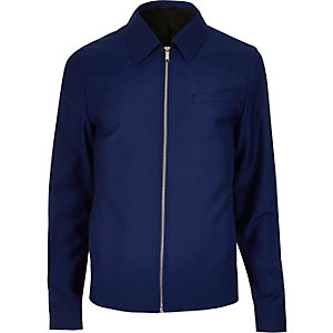 Blue zip-up harrington jacket
