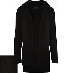 Black knitted ribbed hooded cardigan