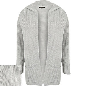 Grey knitted ribbed hooded cardigan
