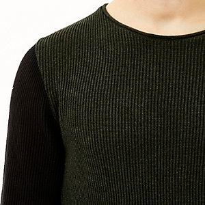 Green contrast sleeve jumper