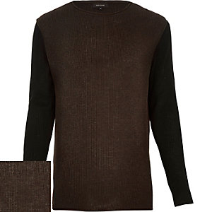 Brown contrast sleeve jumper