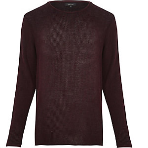 Dark purple lightweight plaited sweater