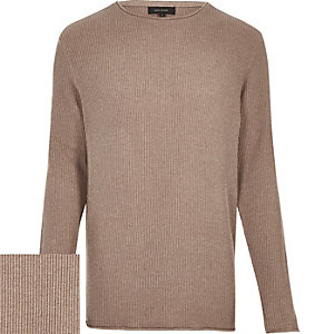 Brown lightweight plaited jumper