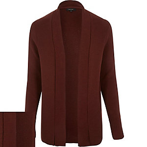 Rust brown open front cardigan