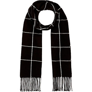 Black window pane pattern scarf