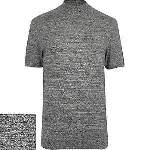 Grey stand neck textured short sleeve jumper