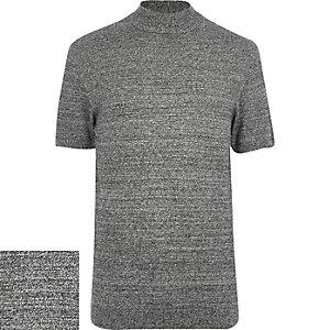 Grey stand neck textured short sleeve jumper